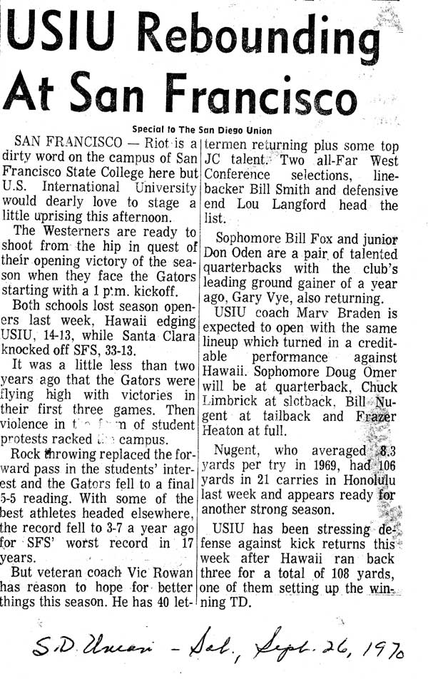 Cal western football articles for Western union san francisco ca